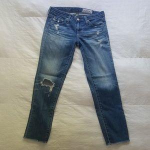 """AG """"The Stilt"""" destroyed cropped skinny jeans"""